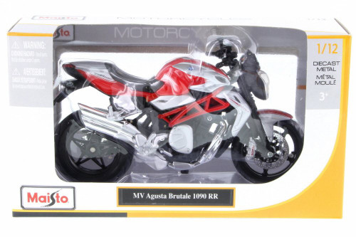 MV Agusta Brutale 1090 RR Motorcycle, Red - Maisto 20-11097RDSIL - 1/12 Scale Vehicle Replica