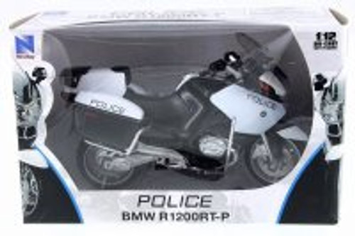 BMW R1200RT-P Police Motorcycle, Black w/ White - New Ray 43153S - 1/12 Scale Vehicle Replica