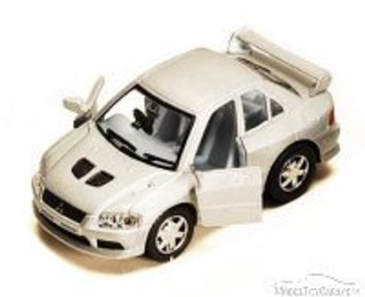 Funny Collection Mitsubishi Lancer, Silver - Kinsmart 4008/16D - 3.75 Inch Scale Diecast Model Replica