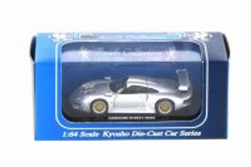 1996 Porsche 911 GT1, Silver - Kyosho K06522S - 1/64 scale Resin Model Toy Car