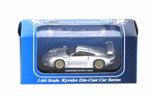1996 Porsche 911 GT1, Silver - Kyosho K06522S - 1/64 scale Resin Model Toy Car