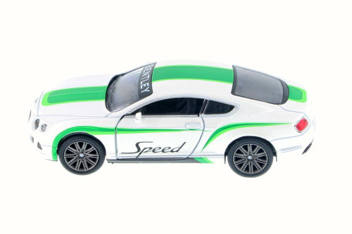 2012 Bentley Continental GT Speed with Decals Hard Top, White w/ Green - Kinsmart 5369DF - 1/38 Scale Diecast Model Toy Car