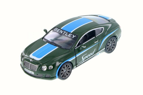 2012 Bentley Continental GT Speed with Decals Hard Top, Green w/ Blue - Kinsmart 5369DF - 1/38 Scale Diecast Model Toy Car