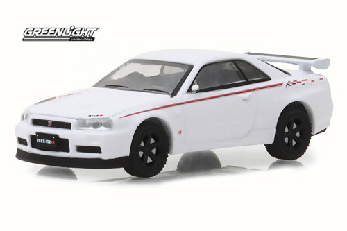 2001 Nissan Skyline GT-R (R34), White Pearl - Greenlight 29900/48 - 1/64 Scale Diecast Model Toy Car