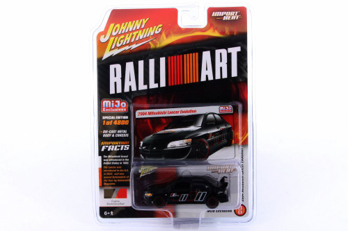 2004 Mitsubishi Lancer Evolution, Black - Johnny Lightning JLCP7168-24 - 1/64 scale Diecast Model Toy Car