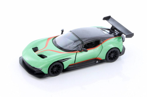 2016 Aston-Martin Vulcan with Decals Hardtop, Green - Kinsmart 5407DF - 1/38 scale Diecast Model Toy Car