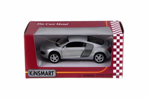 Audi R8, Silver - Kinsmart 5315WSV - 1/36 Scale Diecast Model Toy Car