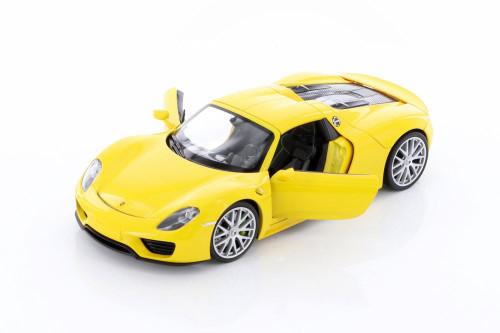 Porsche 918 Spyder Hardtop, Yellow - Welly 24055HC/4D - 1/24 scale Diecast Model Toy Car