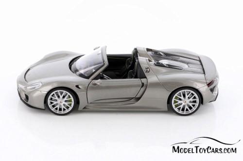 Porsche 918 Spyder Convertible, Silver - Welly 24055HC/4D - 1/24 scale Diecast Model Toy Car