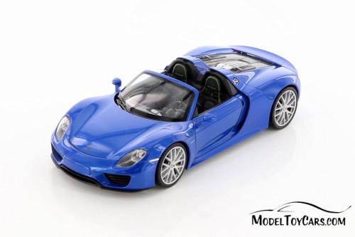 Porsche 918 Spyder Convertible, Blue - Welly 24055HC/4D - 1/24 scale Diecast Model Toy Car