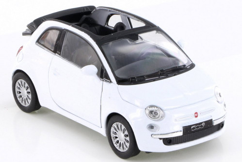 2010 Fiat 500C, White - Welly 43612D - Diecast Model Toy Car