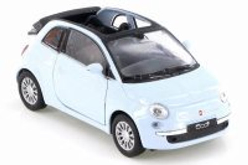 2010 Fiat 500C, Baby Blue - Welly 43612D - Diecast Model Toy Car