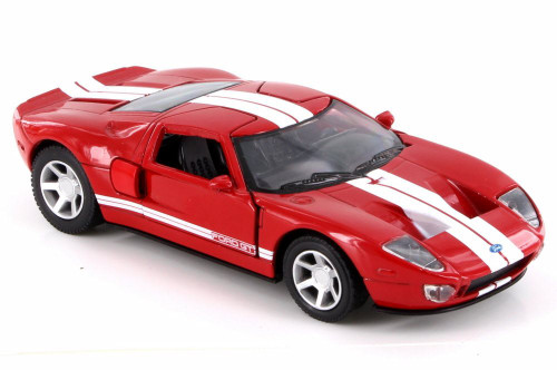 2005 Ford GT40, Red w/ White Stripes - New Ray SS-50931A - 1/32 Scale Diecast Model Toy Car