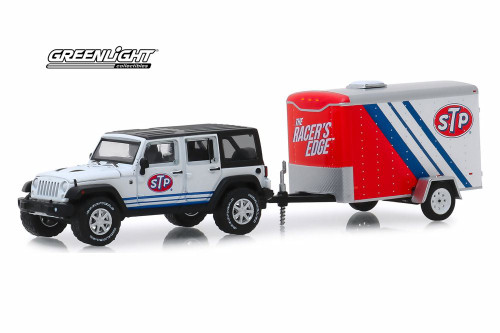 2015 Jeep Wrangler Unlimited with STP Small Cargo Trailer, White - Greenlight 32180/6 - 1/64 scale Diecast Model Toy Car