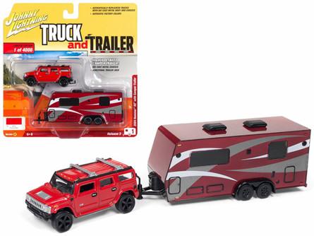 Hummer H2 with Camper Trailer, Red - Johnny Lightning JLSP037-36B - 1/64 scale Diecast Model Toy Car