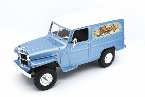 1955 Willys Jeep Station Wagon, Silver Blue - Lucky Road Signature 92858SVBU - 1/18 scale Diecast Model Toy Car