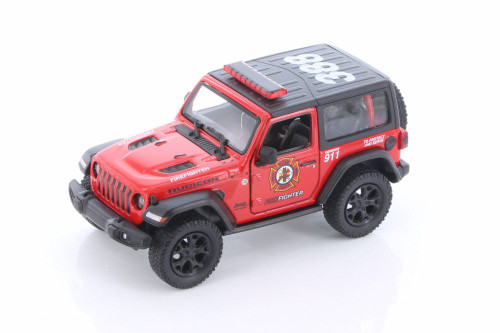 2018 Jeep Wrangler Rubicon Firefighter Hard Top, Red - Kinsmart 5412DPR - 1/34 scale Diecast Model Toy Car