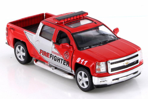 2014 Chevy Silverado Pick-Up Fire Dept Rescue, Red - Kinsmart KT5381DPR - 1/46 Scale Diecast Model Toy Car