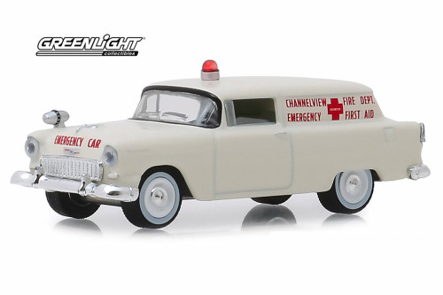 1955 Chevy Sedan Delivery, Channelview, Texas Fire Department Volunteer Emergency Car  - Greenlight 30071/48 - 1/64 scale Diecast Model Toy Car