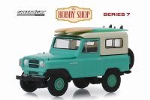 1969 Nissan Patrol (60) with Surfboards, Green - Greenlight 97070C/48 - 1/64 scale Diecast Model Toy Car