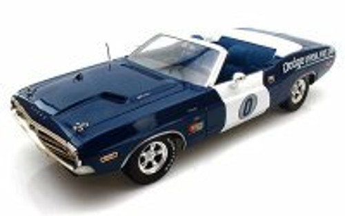 1971 Dodge Challenger Convertible California Ontario Motor Speedway Pace Car, Blue - Greenlight 12871 - 1/18 Scale Diecast Model Toy Car