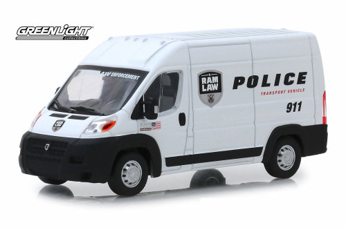 2018 Dodge Ram ProMaster 2500 Cargo High Roof, Ram Law Enforcement Police Transport Vehicle - Greenlight 86168 - 1/43 scale Diecast Model Toy Car