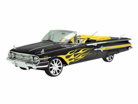1960 Chevy Impala Convertible, Black With Yellow Flames - Motormax Custom Classics 79009 - 1/18 Scale Diecast Model Car