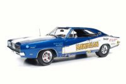 1969 Dodge Charger Hawaiian NHRA Funny Car, Blue - Auto World AW231 - 1/18 Scale Diecast Model Toy Car