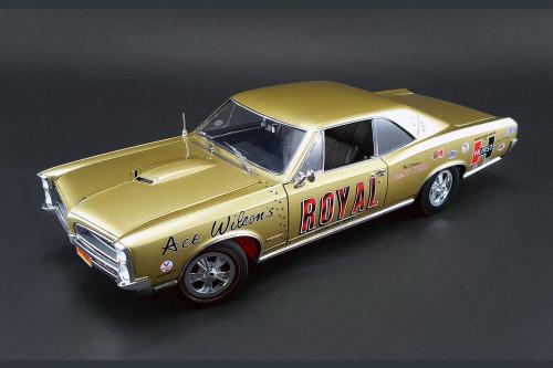 1966 Ace Wilson's Royal Pontiac GTO Tiger Drag Car, Tiger Gold - Acme 1801206 - 1/18 Scale Diecast Model Toy Car