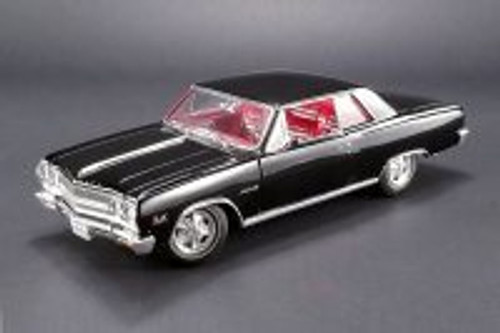 1965 Chevy Chevelle Z16 (Malibu SS 396), Black w/ Red Interior - Acme 1805301 - 1/18 Scale Diecast Model Toy Car
