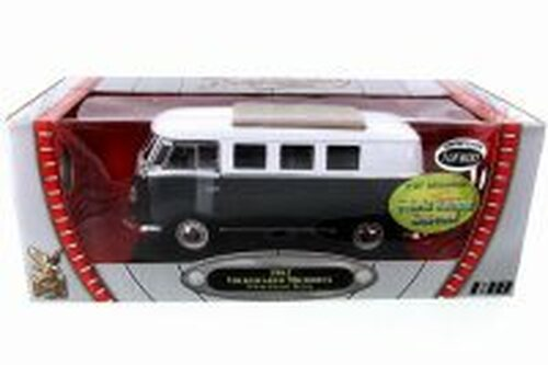 1962 Volkswagen Microbus (Limited Production), Jet Black w/ White - Road Signature 82327BK - 1/18 Scale Diecast Model Toy Car