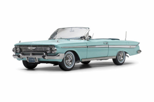 1961 Chevy Impala Open Convertible, Seafoam Green - Sun Star 3409 - 1/18 scale Diecast Model Toy Car