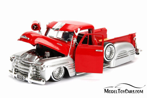 1951 Chevy Pick Up, Red w/ Silver - Jada 99036DP1 - 1/24 Scale Diecast Model Toy Car