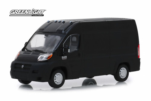 2018 Dodge Ram ProMaster 2500 Cargo Van High Roof, Brilliant Black - Greenlight 86153 - 1/43 Scale Diecast Model Toy Car