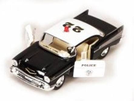 1957 Chevy Bel Air Police Car, Black - Kinsmart 5323D - 1/40 scale Diecast Model Toy Car (Brand New, but NOT IN BOX)