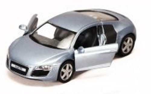 Audi R8, Silver Blue - Kinsmart 5315D - 1/36 scale Diecast Model Toy Car (Brand New, but NOT IN BOX)