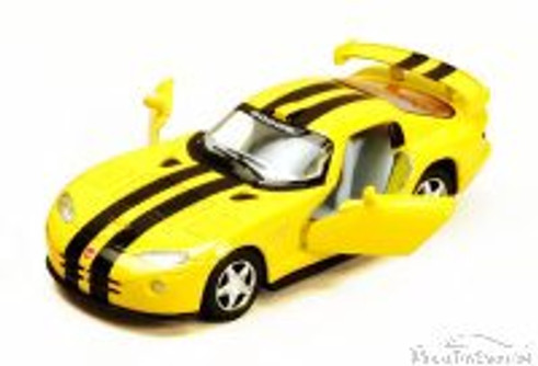 Dodge Viper GTS-R Hard Top, Yellow with Black Stripes - Kinsmart 5039DA - 1/36 Scale Diecast Model Replica (Brand New, but NOT IN BOX)