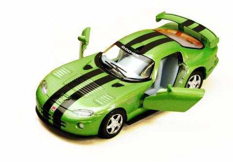 Dodge Viper GTS-R Hard Top, Green with Black Stripes - Kinsmart 5039DA - 1/36 Scale Diecast Model Replica (Brand New, but NOT IN BOX)