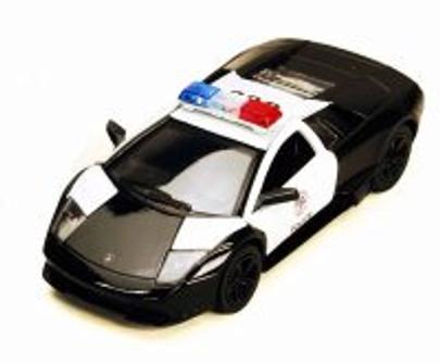Lamborghini Murcielago LP640 Police, Black & White - Kinsmart 5317DP - 1/36 scale Diecast Model Toy Car