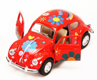 1967 Volkswagen Beetle w/ Decals, Red - Kinsmart 5057DF - 1/32 scale Diecast Model Toy Car (Brand New, but NOT IN BOX)