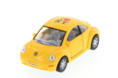 Volkswagen New Beetle, Yellow - Kinsmart 5028D - 1/32 scale Diecast Model Toy Car (Brand New, but NOT IN BOX)
