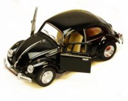 1967 Volkswagen Classic Beetle, Black - Kinsmart 5057D - 1/32 scale Diecast Model Toy Car