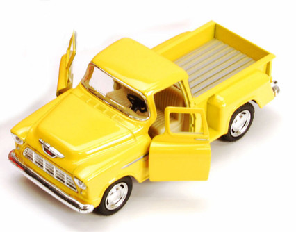 1955 Chevy Stepside Pickup Truck, Yellow - Kinsmart 5330/6D - 1/32 scale Diecast Model Toy Car (Brand New, but NOT IN BOX)