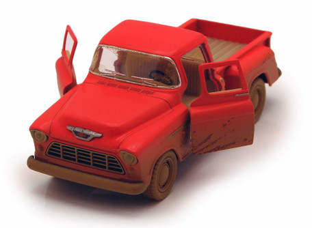 1955 Chevy Stepside Muddy Pickup, Red - Kinsmart 5330DY - 1/32 Scale Diecast Model Replica (Brand New, but NOT IN BOX)