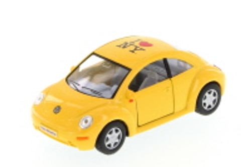 I Love New York Volkswagen New Beetle Hard Top, Yellow - Kinsmart 5028W-ILNY - 1/32 Scale Diecast Model Toy Car