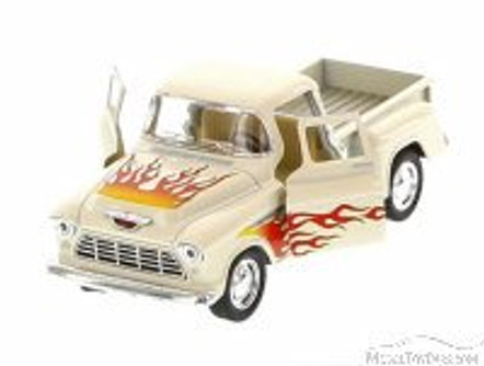 1955 Chevy Stepside Pickup with Flames, White with Flames - Kinsmart 5330DF - 1/32 Scale Diecast Model Replica (Brand New, but NOT IN BOX)