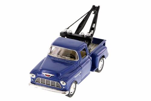 1955 Chevy 3100 Stepside Tow Truck, Blue - Kinsmart 5378D - 1/32 Scale Diecast Model Toy Car