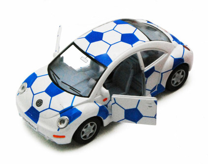 Volkswagen New Beetle, Blue - Kinsmart 5028DR - 1/32 Scale Diecast Model Replica (Brand New, but NOT IN BOX)