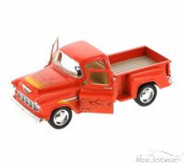1955 Chevy Stepside Pickup with Flames, Red with Flames - Kinsmart 5330DF - 1/32 Scale Diecast Model Replica (Brand New, but NOT IN BOX)