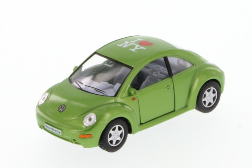 I Love New York Volkswagen New Beetle Hard Top, Green - Kinsmart 5028W-ILNY - 1/32 Scale Diecast Model Toy Car